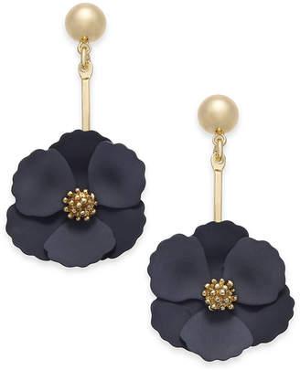 Zenzii Gold-Tone Painted Flower Drop Earrings