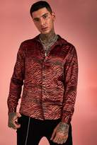 BoohoomanBoohooMAN Mens Orange Long Sleeve Satin Tiger Print Shirt, Orange