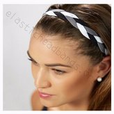 Fabulicious Elastic Headbands Fabulicious BLACK GRAY WHITE Braided Headband© - NON SLIP Sports Headband