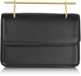 M2Malletier La Fleur du Mal Double Metal Handles Black Leather Clutch