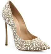 Casadei Blade-Heel Faux Pearl-Embellished Leather Point-Toe Pumps