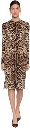 Dolce & Gabbana Printed Stretch Charmeuse Midi Dress