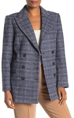 Rebecca Taylor Plaid Print Double Breasted Wool Blend Blazer