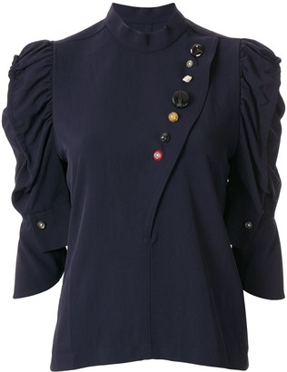 Toga Contrast Button Ruffle Sleeve Blouse