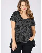 Koko grey floral dipped hem jersey top
