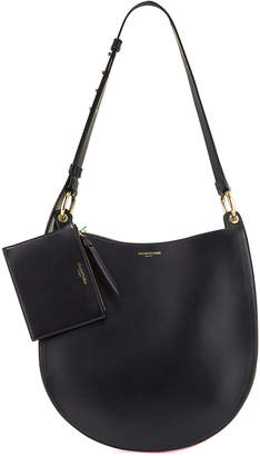 Sara Battaglia Cubo Plisse Leather Bucket Bag