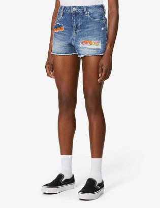 BAPE Damage denim mini shorts
