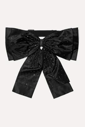 Erdem Bow-detailed Crystal-embellished Silk Belt - Black