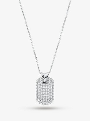 Michael Kors Precious Metal-Plated Sterling Silver Pave Dog Tag Necklace