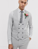 Asos Design DESIGN wedding super skinny suit vest in micro texture ice gray