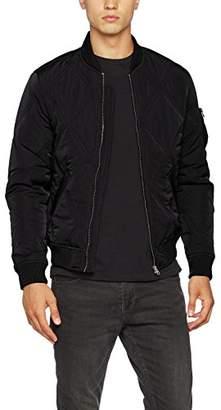 Urban Classic Men's Big Diamond Quilt Bomber Jacket (Black 7), XL