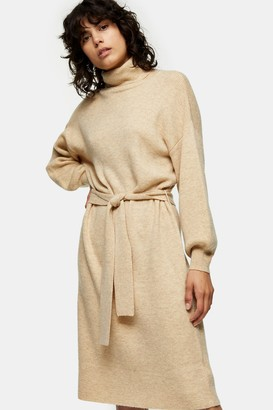 Topshop Womens Oat Funnel Neck Knitted Jumper Midi Dress With Wool - Oatmeal