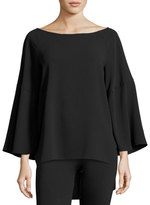 Halston Flounce-Sleeve Boatneck Tunic Top, Black