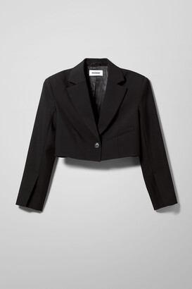 Weekday Dominique Cropped Blazer - Black