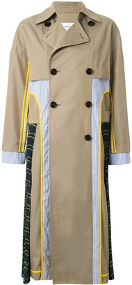 Enfold Double Breasted Patchwork Trench Coat
