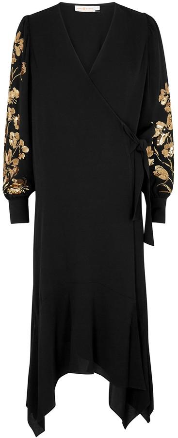 Tory Burch Black embellished wrap dress