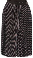 Sacai Pleated Striped Twill Wrap Skirt - Black
