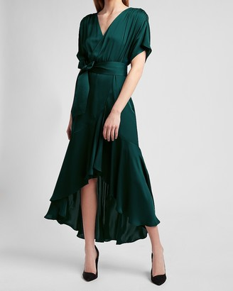 Express Asymmetrical Belted Wrap Front Ruffle Dress