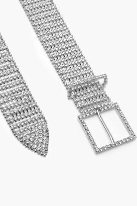 boohoo Diamante Chain Link Belt