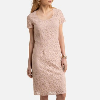 Anne Weyburn Guipure Lace Shift Dress with Short Sleeves