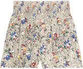 Floral-print silk shorts
