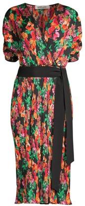 Diane von Furstenberg Autumn Watercolor-Print Midi Dress