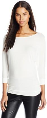 Star Vixen Women's Scoop Neck 3 4 Sleeve Side Shirring Comfy Knit Tunic Top
