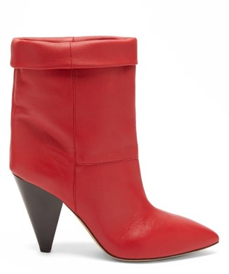 Isabel Marant Luido Leather Ankle Boots - Red