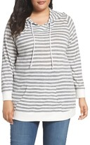 Sejour Plus Size Women's Stripe Pullover Hoodie
