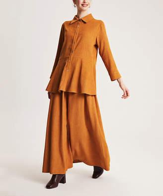 Simmly Women's Maxi Skirts Mustard - Mustard Velvet Button-Up & Maxi Skirt - Women