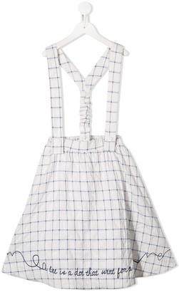 Raspberry Plum Calla grid-print skirt