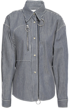 Cédric Charlier Belted Zip-detailed Striped Denim Shirt