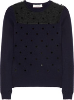 Polka-dot wool-blend and lace sweater