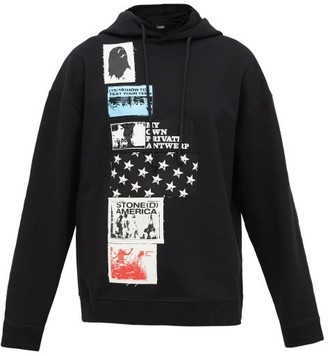 Raf Simons Patch-applique Cotton Hooded Sweatshirt - Womens - Black