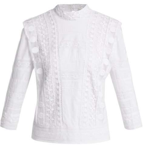 Sea Ila Crochet Lace Embroidered Cotton Blouse - Womens - Cream