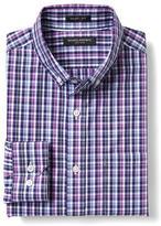 Banana Republic Grant-Fit Purple Checkered Supima Cotton Shirt