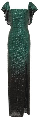 Marchesa Notte Ombre sequinned gown
