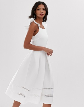 Asos Design DESIGN lace insert ruffle back midi prom dress-White
