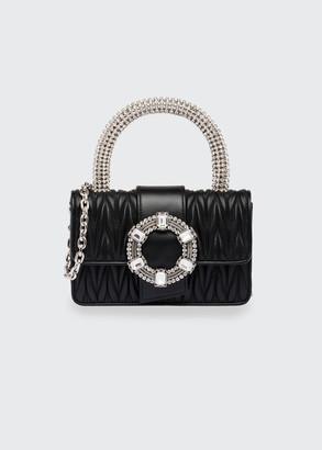 Miu Miu Crystal-Embellished Matelasse Leather Top-Handle Bag