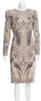 Alexander McQueen Cable Knit Printed Sheath Dress