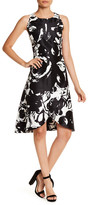 Sangria Floral Print Fit-and-Flare Dress (Petite)