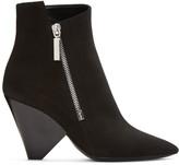 Saint Laurent Black Suede Niki Asymmetric Boots