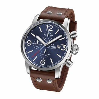 TW Steel Maverick Stainless Steel Quartz Watch with Leather Calfskin Strap