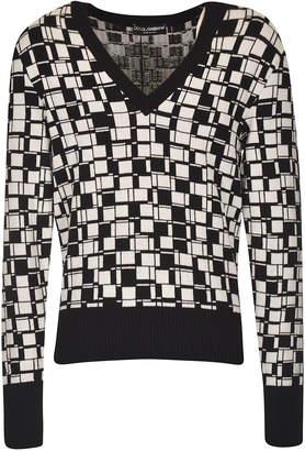 Dolce & Gabbana V-neck Cube Square Motif Pullover