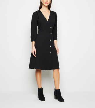 New Look Brave Soul Button Up Wrap Midi Dress