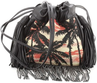 Saint Laurent Helena Bucket Bag Jacquard with Studded Fringed Leather Small