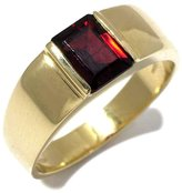 Tatitoto Gioie Men's Ring in 18k Gold with Garnet, Size 6, 7.2 Grams