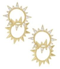 Ettika Golden Double Sun Earrings with Crystals
