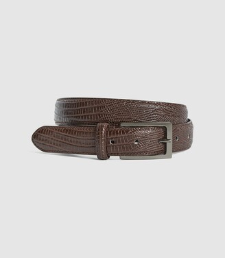Reiss Moro - Patent Leather Croc Embossed Belt in Mid Brown