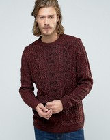 Pull&Bear Chunky Cable Knit Sweater In Burgundy